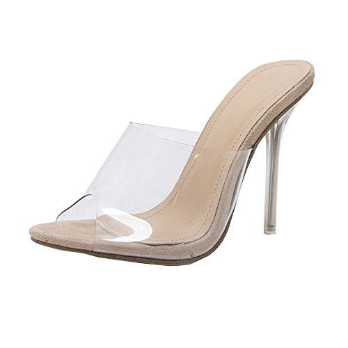 Sandalias Transparentes tacón Alto Mujer Tacón Fino