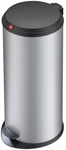 Hailo T1 L, Mülleimer aus Stahlblech mit Kunststoff-Deckel, 19 Liter, großer Öffnungswinkel, standfest, Tragegriff, made in Germany, 0520-029