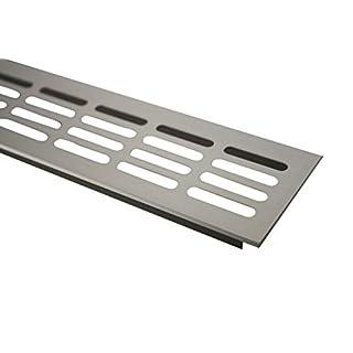 MS Beschläge ® Aluminium Lüftungsgitter Stegblech Heizungsdeckel 60mm x 200mm verschiedene Farben (Edelstahl eloxiert - E6C31)