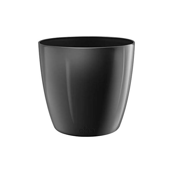 Elho Brussels Diamond Round Maceta Redonda, Negro (Metallic Black), 18,3×18,3×16,8 cm