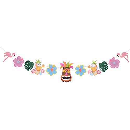LUOEM Decoracion Fiesta Hawaiana Tropical Luau Guirnalda Flor Hawaiana Árbol de Coco Hojas de Palmera Flamencos Piña Máscara Tiki