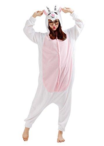 SAMGU Tier Onesie Pyjama Cosplay Kostüme Schlafanzug Erwachsene Unisex Animal Tieroutfit tierkostüme Jumpsuit Ziege(Größe M) (Ziege Kostüme Für Erwachsene)
