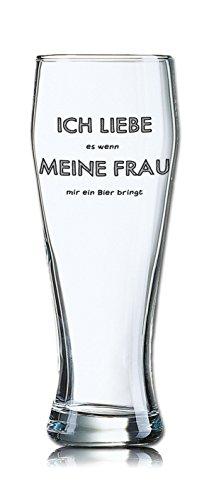 Lustiges Bierglas Weizenbierglas Bayern 0,5L - Dekor: ICH LIEBE es wenn MEINE FRAU mir ein Bier bringt