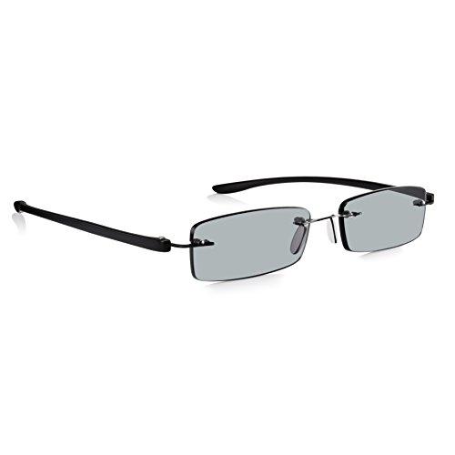 Read Optics Lese- und Sonnenbrille +1,0 bis +3,5 Dioptrien: Für Damen/Herren in randlosem patentiertem SecureLoc Stil. Stabil und leicht, mit schwarzen Bügeln und kratzfesten RayguardTM UV-400 Gläsern