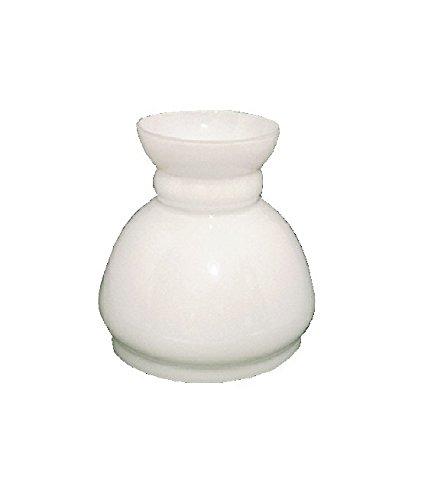 Kleine weiße Glasersatz Öllampe Schornsteinhaube. Breite an der Basis 13cm Durchmesser, Höhe 14cm, maximaler Durchmesser 14cm.