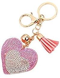Banggood ELECTROPRIME Bag Keychain Bling Bling Key Ring Charm Decor Car Pendant Pink