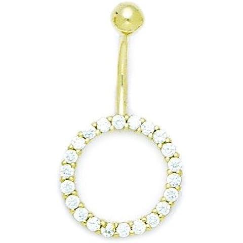 Oro Giallo 14ct CZ 14gauge pendenti cerchio gioielli per il Corpo Piercing–Misure 30x