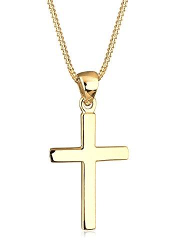 Elli Damen Halskette mit Kreuz Anhänger Basic Religion in 925 Sterling Silber 45 cm lang - Silber Halskette Kreuz Anhänger