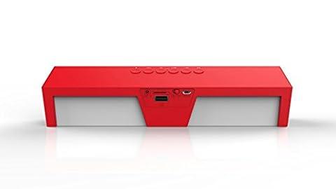 LESHP Enceinte Portable sans Fil Haut-parleur Stéréo Portatif Bluetooth FM Radio affichage LED radio-réveil soutien TF carte et entrée USB 8 heures Durable de jeu appui MP3 fichiers audio au format WAV WMA APE FLAC (Rouge)
