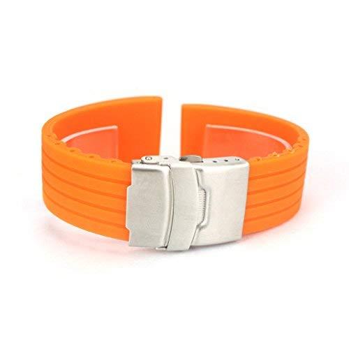 Japace® Flexibel Wasserfest Sport Uhrenarmband Uhrband Armband aus Silikon mit Faltschließe aus Edelstahl für Armbanduhr Damen Herren Wristband Rubber Bracelet Strap Band for Watch 22mm - Orange