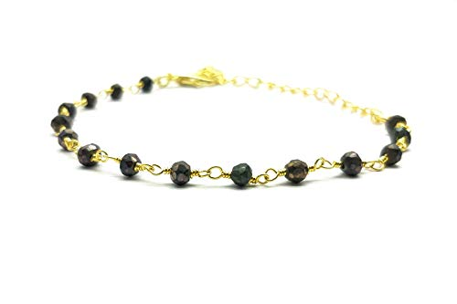 LOVEKUSH - Hermosa joya de piedra natal 50% OFF - Pulseras de pirita mística 3 mm Rondelle facetado chapado en oro 8 pulgadas BRA-156