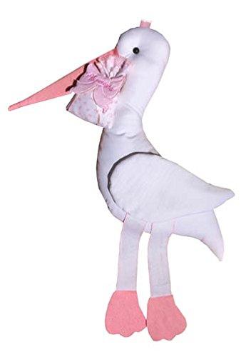 Fiocco nascita da ricamo rosa coccarda cicogna gigante (maxi)