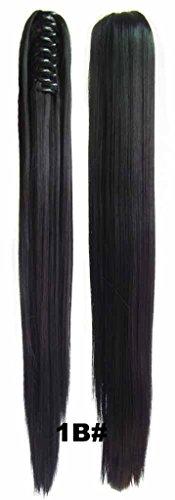 Queen Wig longue ligne droite Jaw Griffe clip cheval clip sur l'extension de morceau de cheveux poney chute - #1B Natural Black
