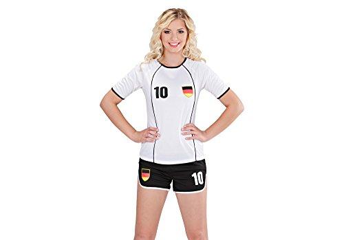 Preisvergleich Produktbild Widmann 97963 - Kostüm Fußballspielerin Deutschland,  weiß / schwarz,  Größe L