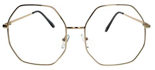 Große Fashion Brille Nerdbrille im Blogger Style Klarglas rund o.achteckig LR63 (Octagon Gold)