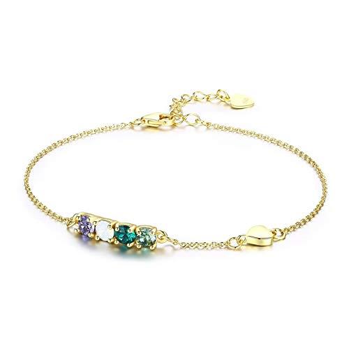 AnazoZ Damen-Armband 925 Silber Herz Armreif mit Zirkonia Kristall von Swarovski Armbänder für Frauen, Länge 20cm Modeschmuck -