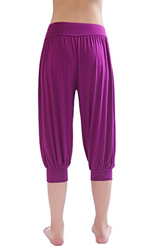 HOEREV® Super Soft Modal Spandex Harem Yoga Pilates Pantalons Capri des femmes Violet