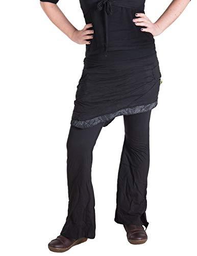 Vishes - Alternative Bekleidung - Hippie Schlag Hose mit asymmetrischem Patchwork Rock Schwarz 48 -