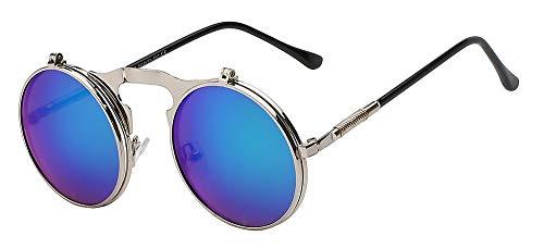 Sonnenbrille Flip-Up-Steampunk Sonnenbrille Männer Runde Vintage Mens Sonnenbrille Mode Gläser Uv 400 Grün Spiegel Linse
