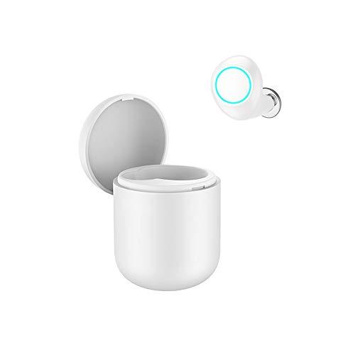 QAQ Bluetooth-Kopfhörer 3D Stereo Drahtlose Kopfhörer,Drahtlose Ohrhörer Hände Frei Passend Für iPhone Samsung Warten Smartphone(Bluetooth 4.2,Band Ladebox,Einzelohr),White