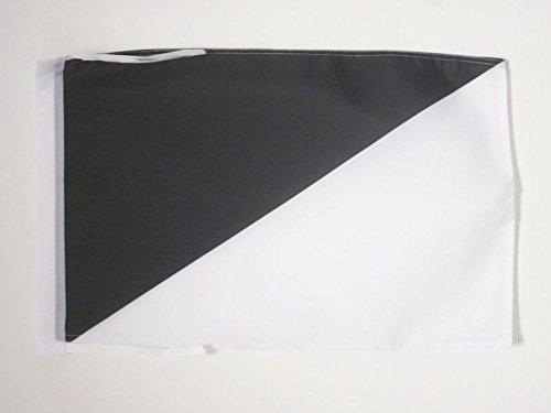 AZ FLAG Flagge WEISSER UND SCHWARZER Schiedsrichter 45x30cm mit Kordel - Motorsport RENNLEITUNG ROT WEIß UND SCHWARZ Fahne 30 x 45 cm - flaggen Top Qualität