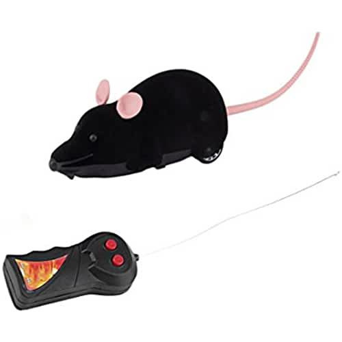 regalos kawaii gato Gracioso gato perro juguetes simulación de control remoto ratón niños juguetes orejas al azar, Negro