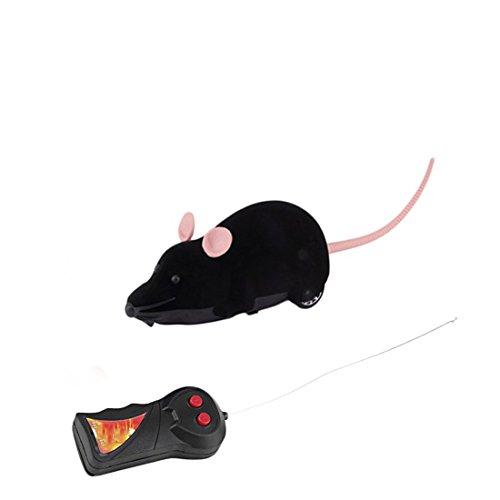Gracioso gato perro juguetes simulación de control remoto ratón niños juguetes orejas al azar, Negro