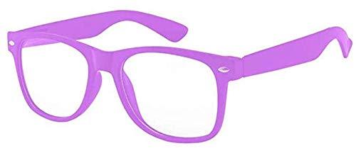 Boolavard® Nerd Sonnenbrille im Wayfarer Stil Retro Vintage Unisex Brille - 45 Modelle wählbar (Lila Klar)