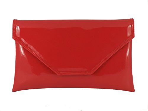Pochette, Borsa a spalla in verniciato, grande, porta-Borsa da festa di matrimonio Rosso (Rosso - Rouge vif)
