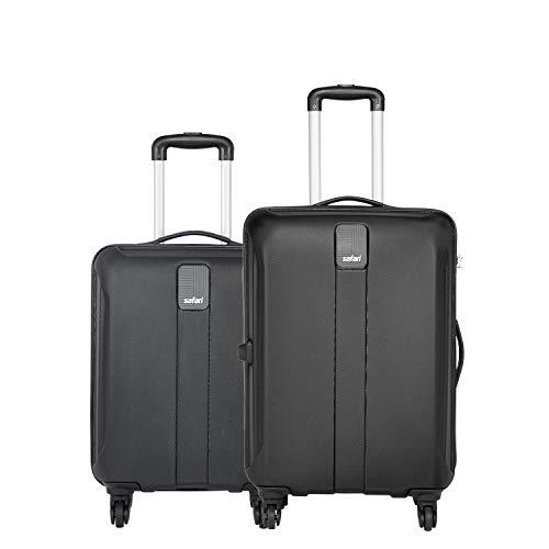 Safari Thorium Sharp Anti-Scratch Combo Set of 2 Black Small, Medium Check-in 4 Wheel Hard Suitcase