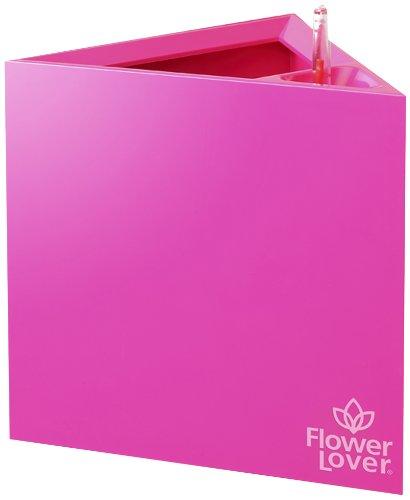 Greemotion nouvaute boite de fleurs rose triangulaire 21 x 21 x 21 cm jardin maison