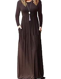 cb51adc9e4abec LAIKETE Abito Lunghi Elegant Donna Camicia Vestito Manica Lunga et Corta  Kaftano Casual Autunno Inverno Abiti