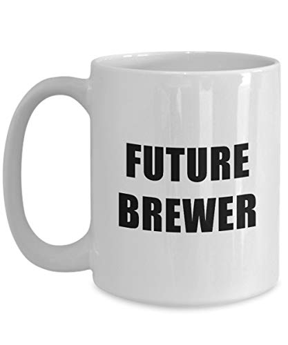 Future Brewer Mug Big Acrylic Coffee Holder White 11 oz Profession, Worker, Dream Job -
