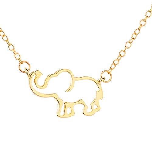 (SO-buts Fashion Damen Halskette,Maskottchen Elefant Halskette, Hohl Anhänger+Flanell Aufbewahrungstasche Schmuck klassische (Gold))