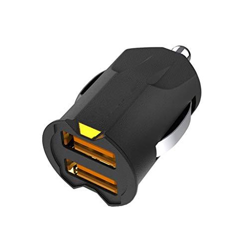 Cargadores de Coche Más pequeño Mini USB Adaptador de Cargador de Coche Teléfono móvil Dual USB Cargador de Coche Auto Charge 2 Port Cargadores de Coche (Color : Black)
