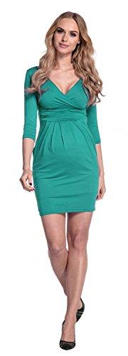 Happy Mama. Donna. Abito elasticizzato prémaman elegante vestito con tasca. 236p Verde Acqua