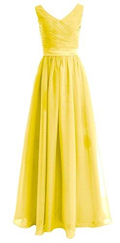MACloth Women Straps V Neck Chiffon Long Bridesmaid Dress Wedding Party Gown Gelb