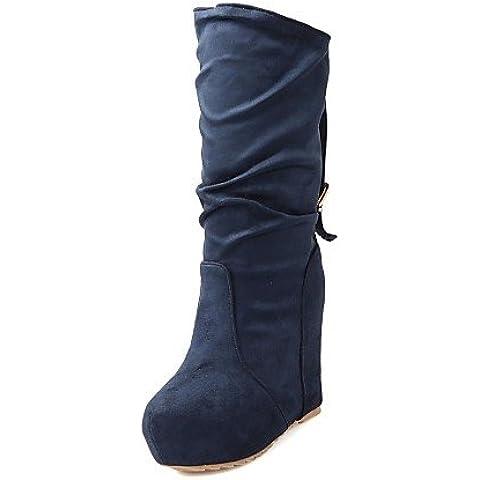 Ei&iLI Zapatos de mujer - Tacón Cuña - Plataforma / Botas a la Moda - Botas - Vestido / Casual - Ante - Negro / Azul / Rojo , us6 / eu36 / uk4 / cn36