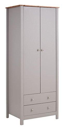 LifeStyleDesign 7010661 Kleiderschrank, Holz, grau / kirsche, 52 x 71 x 181 cm