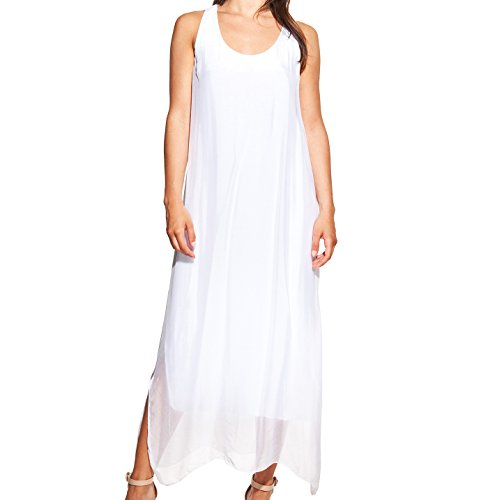 Laura Moretti - Robe longue en soie avec décolleté U et ouvertures latérales Blanc