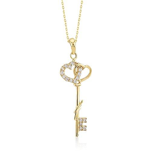 Damen Halskette 14 Karat - 585 Echt Gelbgold Herz verbunden mit einem Schlüssel Anhänger und kubisches Zirkonia, Key Heart, Schluesselanhaenger Goldkette/Kettenlänge 45cm
