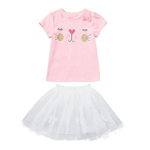 (Mitlfuny Damen Vintage Rockabilly Swing Kleider,Infant Baby Girl Kid Cartoon Kaninchen Bunny Tops T Shirt + Spitzenrock Outfits Set)