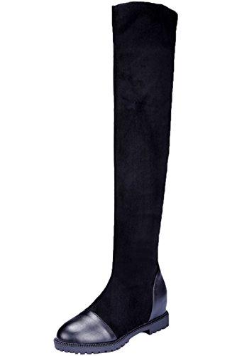 BIGTREE Overknees Stiefel Damen Elegant Faux Wildleder Erhöhte Herbst Winter Warm Schwarz Flach Lang Stiefel 42 EU -