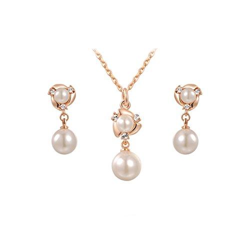 2015 Fashion Ornaments Elegant juego de collar con colgante en forma de joyería para mujer tres Juego de pendientes de perlas de imitación