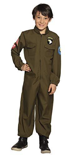 costumebakery - Jungen Kinder Kostüm Pilot Flieger Overall Jumpsuit Einteiler, Top Gun Jet Pilot, perfekt für Karneval, Fasching und Fastnacht, 104-116, Grün