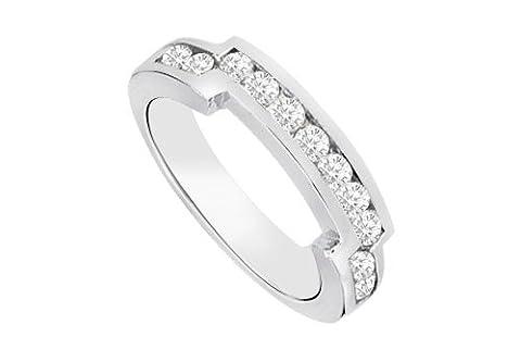 Diamond Channel set Wedding Band 14K White Gold 0.35 CT Diamonds