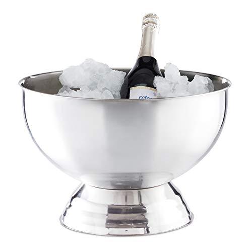 Relaxdays 10024734 Sektkühler Schale, XXL Eiswürfelbehälter für Wein, Champagner, Edelstahl, Getränkekühler D: 36,5 cm, Silber, stainless_steel