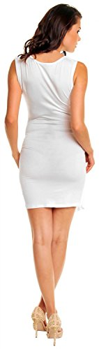 Zeta Ville - maternité - robe jersey de grossesse - robe plissé - femme - 045c Blanc