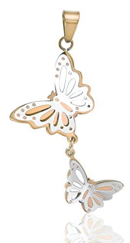 Acier Inoxydable Colliers, Femmes Pendentif Chaîne Deux Papillons Connected Epinki Rose Or