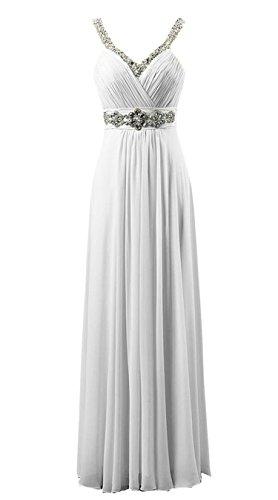 Vantexi Damen V-Ausschnitt Lange Chiffon Abendkleid Ballkleid Abschlussball Kleider Weiß Größe 48